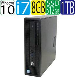 第6世代 HP ProDesk 600 G2 SF Core i7 6700 3.4GHz メモリ8GB 高速新品SSD512GB + HDD1TB DVDマルチ Windows10 Pro 64bit WPS Office付き USB3.0対応 中古 中古パソコン デスクトップ 1368aR