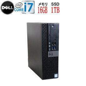 第6世代 DELL Optiplex 7040SF Core i7 6700 3.4GHz メモリ16GB SSD新品1TB DVD-ROM Windows10 Pro 64bit USB3.0対応 HDMI 中古パソコン デスクトップ 1627a-3R