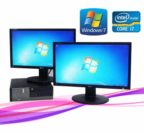 中古パソコン DELL Optiplex 790SF 22型ワイドデュアルモニター Core i7-2600 3.4GHz メモリー4GB DVDマルチ Win7 Pro64Bit /R-dm-051 /中古
