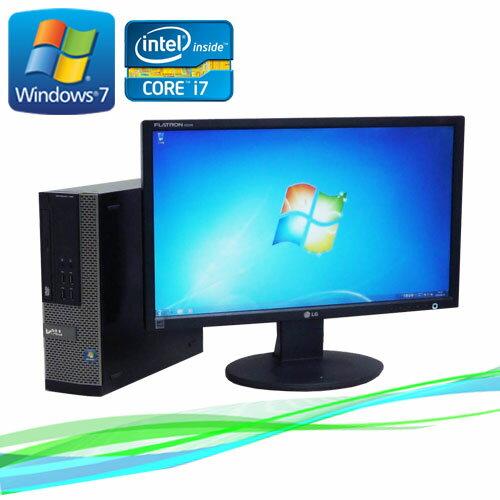 中古パソコン デスクトップ DELL 790SF 22型ワイド液晶 Core i7-2600 3.4GHz メモリー4GB DVDマルチ 64Bit Windows7Pro /R-dtb-388 /中古