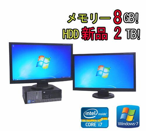 中古パソコン DELL Optiplex 790SF 23型ワイドデュアルモニター Core i7-2600 3.4GHz メモリー8GB HDD2TB DVDマルチ Win7 Pro64Bit /R-dm-052/中古