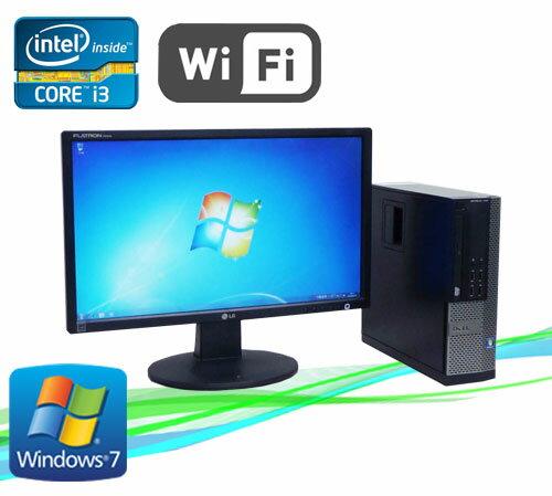 中古パソコン デスクトップ 無線LAN付 DELL 790SF 22型ワイド液晶 Core i3 2100 3.1GHz メモリ2GB DVD-ROM Windows7 /R-dtb-438/中古