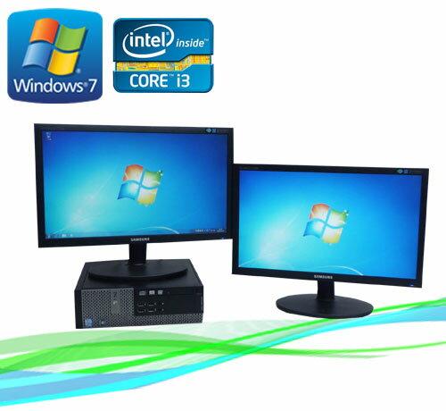 中古パソコン Core i3搭載 メモリー4GB DVD-ROM DELL 790SF Core i3 2100 3.1GHz 20型ワイド液晶×2枚 マルチモニター /R-dm-048/中古
