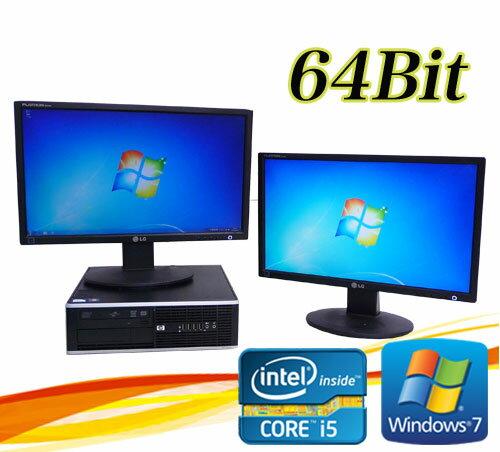 中古パソコン HP 8300 Elite SFF 22型ワイドデュアルモニター Core i5 3470-3.2GHz メモリ8GB GeForce HDMI内蔵DVDマルチ 64Bit Win7 Pro /R-dm-070 /USB3.0対応 /中古