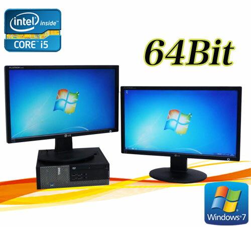 中古パソコン DELL Optiplex 7010SF 22ワイド型デュアルモニター Core i5 3470 3.2GHz メモリー4GB DVDマルチWin7 Pro64Bit /R-dm-078  /USB3.0対応 /中古