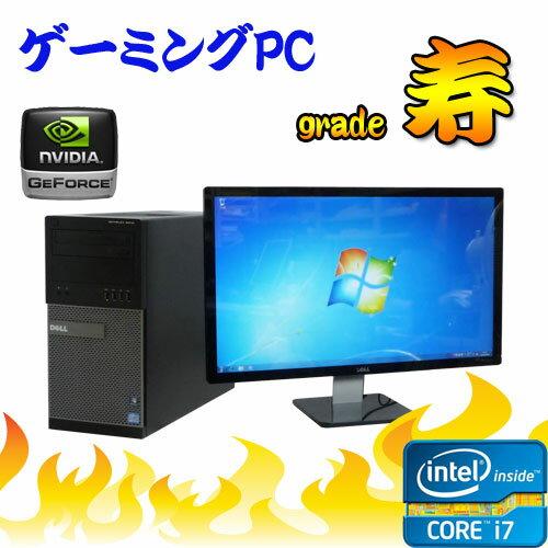 中古パソコン 3Dオンラインゲーム仕様 Grade 寿 DELL Optiplex 990MT 24ワイド液晶 Core i7-2600 メモリ8GB 500GB DVD-Multi GeforceGTX1050 64Bit Win7Pro /ゲーミングpc /R-dtg-174/中古