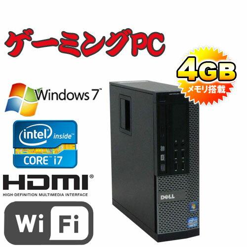 中古パソコン ゲ-ミングPC GeForceGT730-1GB HDMI DVI無線LAN Core i7-3770 3.4GHzメモリ4GB HDD250GB DVDRWマルチ DELL7010SF 64Bit Windows7Pro /R-dg-174-2 /USB3.0対応 /中古
