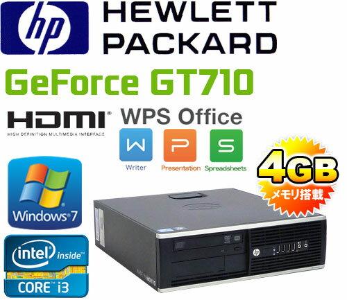 中古パソコン デスクトップ HDMI内蔵GeForce GT710 Windows7 Pro 64Bit Core i3 3220 メモリ4GB DVDマルチ HDD250GB HP 6300sf Office_WPS2017 /R-dg-144/中古
