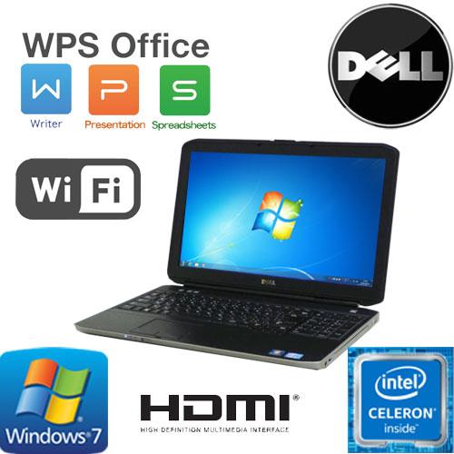 中古パソコン Celeron B840(1.9GHz) Windows7 Pro 32Bit DELL Latitude E5530 15.6液晶 A4 メモリ4GB HDD320GB DVD-ROMドライブ 無線LAN WPS_Office /ノートパソコン/1623N7R/中古