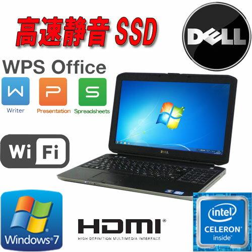 中古パソコン Celeron B840(1.9GHz) Windows7 Pro 32Bit DELL Latitude E5530 15.6液晶 A4 メモリ4GB 高速新品SSD120GB DVD-ROMドライブ 無線LAN WPS_Office /ノートパソコン/1623N7-2R/中古