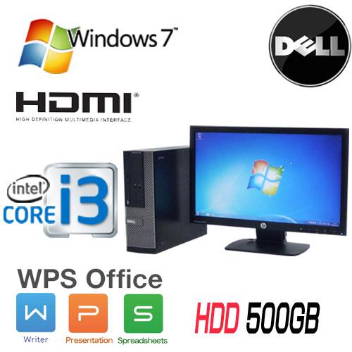 中古パソコン DELL Optiplex 390SF 20型 ワイド液晶モニタ Core i3 2100(3.1GHz) DVD-ROM メモリ4GB HDD500GB WPS Office Windows7Pro 32Bit /1559s7-3R /中古