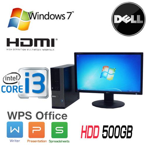 中古パソコン DELL Optiplex 390SF 22型 ワイド液晶モニタ Core i3 2100(3.1GHz) DVD-ROM メモリ4GB HDD500GB WPS Office Windows7Pro 32Bit /1559s7-4R /中古