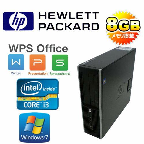 中古パソコン デスクトップ HP 6300sf Core i3-3220(3.3GHz) メモリ8GB HDD250GB DVDマルチ 64Bit Windows7 Pro Office_WPS2017 /R-d-297-2/中古