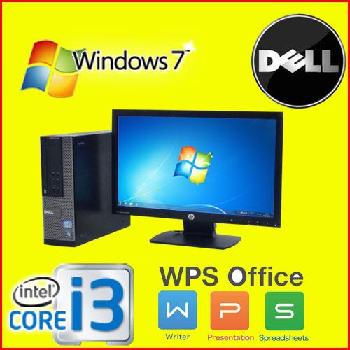 中古パソコン デスクトップ DELL 790SF 20型ワイド液晶 Core i3 2100 3.1GHz メモリ4GB DVD-ROM 32Bit Windows7 Pro WPS Office R-dtb-530 中古