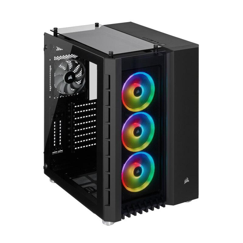 Corsair 680X RGB Black CC-9011168-WW キューブPCケース RGBファン標準搭載 強化ガラス採用 E-ATX対応 ブラック
