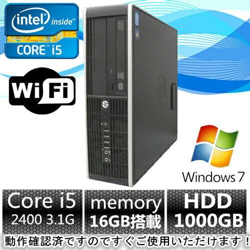 中古パソコン デスクトップ【Windows 7&無線搭載】HP 6200 Pro Core i5 2400 3.1G/メモリ16GB/HDD1TB/HDMI端子内蔵【中古】【中古パソコン】【中古デスクトップパソコン】【中古PC】【在庫処分】【安心保証】