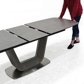 伸長式 テーブル シンプルデザイン ダイニングテーブル 幅180 幅220cm 伸縮可能 グレー色 伸張式 伸長テーブル 強化ガラス エクステンション テーブルのみ 単体 奥行き80cm シック モダン セラミック 送料無料