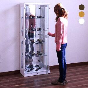 鍵付き コレクションボード ディスプレイラック 幅60cm 5段 コレクションケース ナチュラル ブラウン ホワイト 選べる3色 高さ160 ショーケース フィギュアラック LEDダウンライト付き ガラス