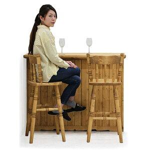 カントリー風 バーカウンター バーチェア 3点セット カウンターテーブル 幅120cm 完成品 自宅 間仕切り テーブル ハイカウンター ストレートタイプ キッチンカウンター 無垢 パイン材 天然木