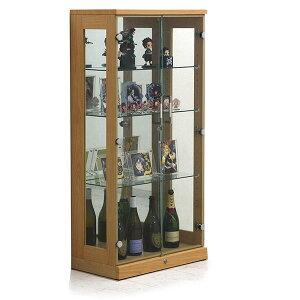 完成品 コレクションケース コレクションボード 幅65cm 3段 鍵付き 強化ガラス ロータイプ ナチュラル 高さ130cm 背面ミラー仕様 ガラス棚 可動式 可動棚 リビング収納 コレクションボード 飾