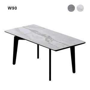 センターテーブル セラミック材 幅90cm コンパクト テーブル おしゃれ 大理石風 石目調 ホワイト グレー 選べる2色 白 リビングテーブル ローテーブル 座卓 インテリア スチール脚 長方形 陶