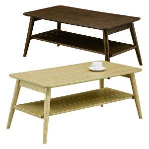 テーブル 棚付き センターテーブル リビングテーブル 幅105cm 折りたたみ 折れ脚 ナチュラル ブラウン 選べる2色 収納 棚 奥行55cm 高さ45cm 天然杢 天然木 オーク材 ラバーウッド材 木製 省スペ