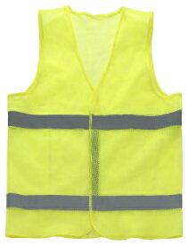 【メール便OK1個まで】安全反射ベスト イエロー 通気性の良い柔らかなメッシュ編み!背面には、「表記」が自由に変えられる透明ポケット付(B5サイズ)