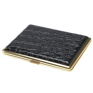 ゴールドフレーム × エナメルクロコ ブラック ロング タバコケース 20本収納 3-31756-10