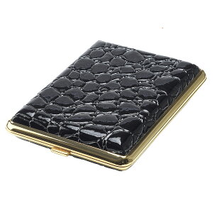 ゴールドフレーム × エナメルクロコ ブラック タバコケース 16本収納 キングサイズ(85mm) 3-31856-10