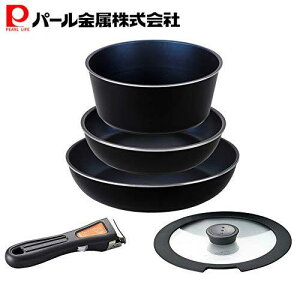 鍋 フライパン セット ブルー ダイヤモンドコートパン 取っ手の取れる IH対応 セット5 ブラック HB-3976 パール金属