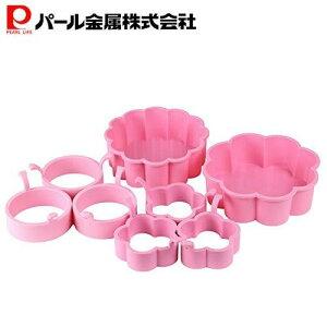 パール金属 シリコーン ハートケーキ型 13cm (1/4、1/6)、パンケーキリング 小 (ラウンド3個組、フラワー3個組) 4点セット D-5725