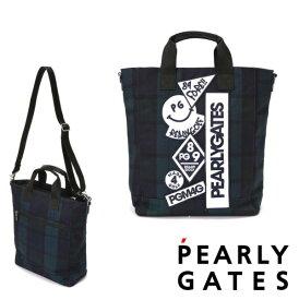 【NEW】PEARLY GATES パーリーゲイツブラックウォッチシリーズ デコワッペンBIGトートバッグ ショルダー付き053-0281100/20D