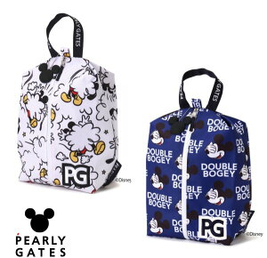 【NEW】PEARLY GATES パーリーゲイツミッキーマウス総柄 シューズケースMICKEYシルエットチャーム付053-1284007/21D<MICKEY SERIES>