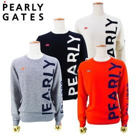 【NEW】PEARLY GATES パーリーゲイツピュアカシミヤ レディース BIG!BIG!ロゴクルーネックセーター プルオーバー055-0270002/20D