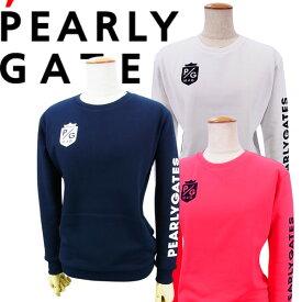 【NEW】PEARLY GATES パーリーゲイツボックスロゴ P/Gフロッキープリント レディース吊風裏毛トレーナー =JAPAN MADE=055-1162202/21AF