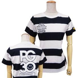 【NEW】PEARLY GATES パーリーゲイツ【30周年記念限定モデル】30th Anniv.I'm PEARLY GATES レディースボーダーバックプリントTシャツ =JAPAN MADE=9263802/19C【30TH】