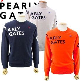【NEW】PEARLY GATES パーリーゲイツカシミヤブレンドインターシャニットP/G メンズ クルーネック羊毛セータープルオーバー 053-1170005/20D