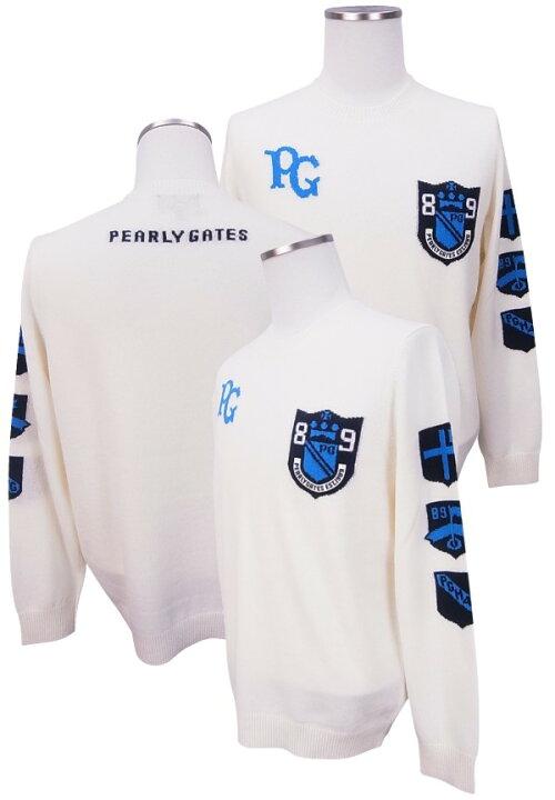【NEW】PEARLYGATESパーリーゲイツロゴインターシャニットメンズカシミヤクルーネックセーター8270001/18D