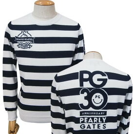 【PREMIUM SALE】PEARLY GATES パーリーゲイツ【30周年記念限定モデル】30th Anniv.I'm PEARLY GATES メンズ ボーダーコットンニットセーター プルオーバー9270803/19C【30TH】