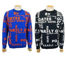 【FINAL SALE】PEARLY GATES パーリーゲイツGRAPHICロゴ メンズ ジャガードニットクルーネックセーター プルオーバー=JAPAN MADE= 053-0170029/19D【GRAPHIC】