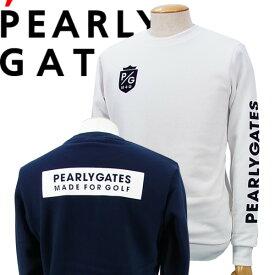 【NEW】PEARLY GATES パーリーゲイツボックスロゴ P/Gフロッキープリント メンズ吊風裏毛トレーナー =JAPAN MADE=053-1162201/21AF