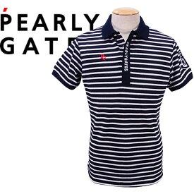 【NEW】PEARLY GATES パーリーゲイツアンカーワッペン ハニカムカノコ メンズボーダー半袖ポロシャツ=JAPAN MADE=053-1160509/21B