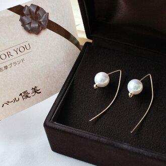 akoya海水珍珠金线耳钉8.5-9mm K18黄金