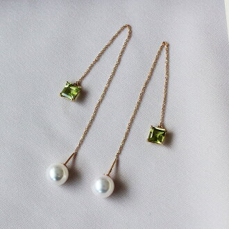 akoya 海水珍珠 K18 紫水晶 绿橄榄石 长款耳线