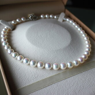 Akoya 花珠海水珍珠项链 7.5-8.0 毫米