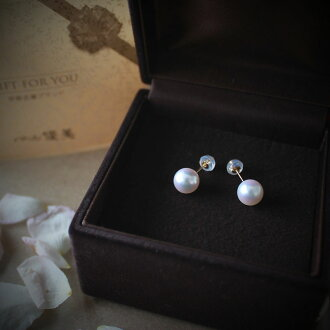 akoya pearl oyster 真珠越物 7.5-8mmK18 or K14WG pierced earrings or earrings <>