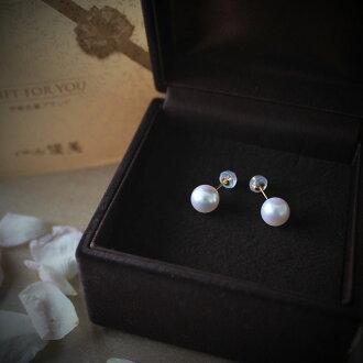 Akoya pearls pierce  earing 8.0-9mm K18YG or 14WG