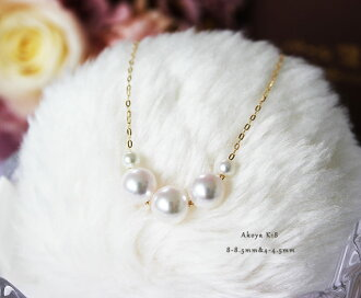 akoya sea pearl necklace K18YG/K14WG 8-8.5mm&4-4.5mm  products warranty