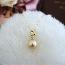 K18 南洋真珠 DIA ネックレスダイア southsea pearl necklace D0.01ct 1pcs