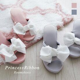 スリッパ ヒール4cm リボン ルームシューズ Lサイズ ピンク グレープリンセス かわいい おしゃれ 上品 来客用 ギフト プレゼント 薔薇雑貨